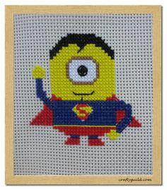 Super Minion Free Cross Stitch Pattern