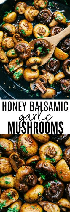 Honey Balsamic Garlic Mushrooms are sautéed in the most incredible honey balsamic garlic sauce. This makes an excellent topping for steak or chicken or is even great as a side dish!