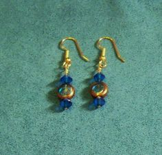 Handmade Earrings Blue Green and Gold Tone by YoursOccasionally, $7.00