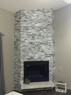Refaced Fireplace With Msi Alaska Gray Ledger Living