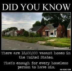 Vacant Houses Outnumber Homeless People in U. There are more than five times as many vacant homes in the U. as there are homeless people, according . Vacant homes Abandoned Detroit, Abandoned Places, Abandoned Houses, Detroit Ruins, Detroit Usa, Haunted Places, The More You Know, Did You Know, Homeless People