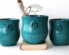 turquiose & teal kitchen accents | Kitchen - Dark Teal Turquo ise - Utensil Holder - Modern Home Decor ...
