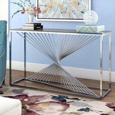 [Décoration]  Une petite #table en métal dans votre entrée. 👐 Matériau impersonnel et sobre, il reste toujours chic. Le petit plus : les barres verticales croisées, apportant un peu de fluidité dans les mouvements. 😙 #LeMetalist #Console #décoration #ameublement