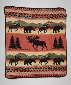 Look what I found on #zulily! EARTH RAGZ Red Orange & Tan Moose Tracks Throw Blanket by EARTH RAGZ #zulilyfinds