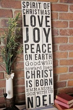 Sprit of Christmas  Love  Joy  Peace on earth  Goodwill toward Men  Christ is Born  Emmanuel   God with us  Noel  Christmas Sign  Pallets