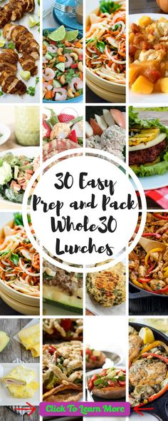 30 Easy Prep and Pack Whole30 Lunch Recipes. An entire month of easy to prepare and pack Whole 30 lunch recipes. Gluten-free, paleo, dairy-free, soy-free, grain-free, clean. #health #fitness #weightloss #healthyrecipes #weightlossrecipes
