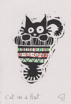 Cat in a Hat - lino cut print Christmas card