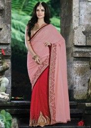 Party Wear Pink Lycra Net Embroidery Border Work Saree