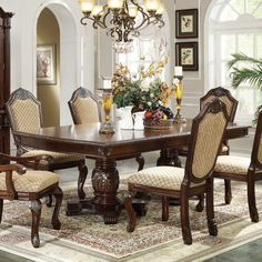 Acme Furniture Chateau De Ville Rectangular Dining Table | Hayneedle Dining Room Images, Dining Room Sets, Dining Room Table, Tuscan Dining Rooms, Dining Chairs, Acme Furniture, Home Decor Furniture, Dining Room Furniture, Handmade Wood Furniture