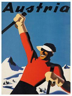 Kunst Oostenrijk Poster reizen Print Vintage Ski door Blivingstons