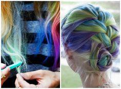 cabelos coloridos hair chalk