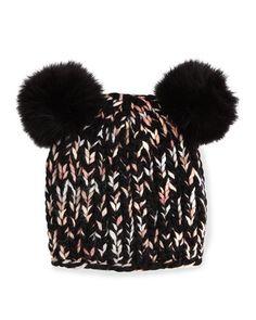 D0ZFJ Eugenia Kim Mimi Knit Hat with Fur Pom Poms, Black/Pink