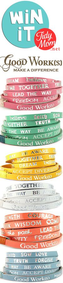Win a Good Works Bracelet at TidyMom.net @Cheryl Sousan | Tidymom.net @cheryl ng Tidymom - really love these!