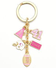 GIRLY FOOTBALL MIX KEY RING how freaking adorable. andre would never let me pay that much for a keychain. but its soooo cute. Pink Football, Down South, Rings Online, Key Fobs, Handbag Accessories, Fashion Accessories, Girly Things, Girly Stuff, Key Rings