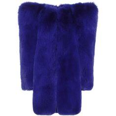 Saint Laurent Fur Coat (€17.335) ❤ liked on Polyvore featuring outerwear, coats, blue, blue fur coat, blue coat, yves saint laurent and fur coat