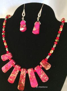 "SWAROVSKI Pearls Red Siam Coral, Pink Jasper 18"" NECKLACE Earrings Set OOAK JCG"