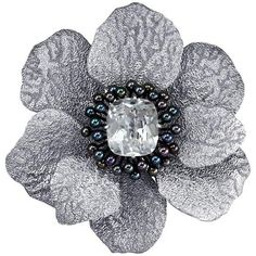 Alex Soldier White Topaz Pearl Sterling Silver Platinum Coronaria... ($2,550) ❤ liked on Polyvore featuring jewelry, brooches, white, sterling silver palm tree pendant, flower jewellery, sterling silver pendants, platinum jewelry and sterling silver pearl pendant