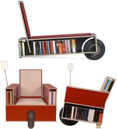 The Read & Roll Nils Holger Moormann combines all the functionality of a bookcase with the comfort of a chair. It even comes in two versions, the standard and the lounge chair. Best of all, they even come with a giant wheel so you can rearrange your book/chairs whenever you need to.