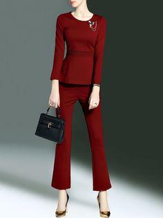 #AdoreWe #StyleWe CYANINE SEA Long Sleeve Cotton-blend Elegant Two Piece Ruffled Jumpsuit - AdoreWe.com