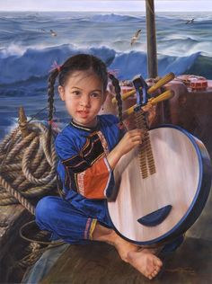ARTIST WAI MING - Asian Oriental Chinese Fine Art Artwork Paintings Catalog (title: Sea Song)