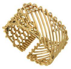 Gold Netting Bracelet with Triangular Motif Diamonds