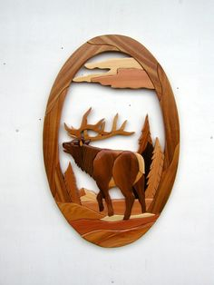 Gielish Wood Sculpture - Intarsia Wood Art - Elk