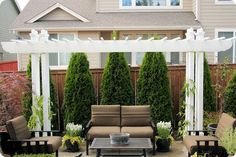 The trees, flower pots and maybe the mini pergola if we get crazy :) Already have the outdoor furniture Outdoor Rooms, Outdoor Gardens, Outdoor Living, Modern Gardens, Outdoor Fun, Outdoor Furniture, Petite Pergola, Back Patio, Backyard Projects