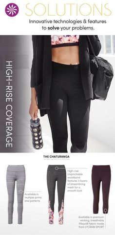 High Rise Flattering Yoga Tights: coverage where you need it in different styles, patterns and prints.