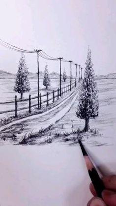 Unique Drawings, Art Drawings Beautiful, Art Drawings Sketches Simple, Landscape Pencil Drawings, Pencil Art Drawings, Amazing Pencil Drawings, Scenery Drawing Pencil, Pencil Sketches Landscape, 3d Art Drawing