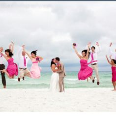 Beautiful wedding party picture and love the bridesmaids dresses!