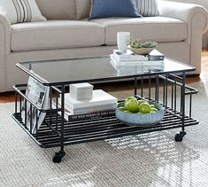 A multi-tasker with stylish industrial character, the Preston Coffee Table is a go-anywhere piece that takes its tasks seriously. A tempered-glass top, two magazine racks and a slatted bottom shelf let it transfer seamlessly from game table to wor… Coffee Table Legs Metal, Coffee Table With Shelf, Glass Top Coffee Table, Large Square Coffee Table, Round Coffee Table, Table Storage, New Furniture, Outdoor Furniture, Home Living Room