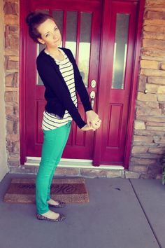 Green pants and stripes