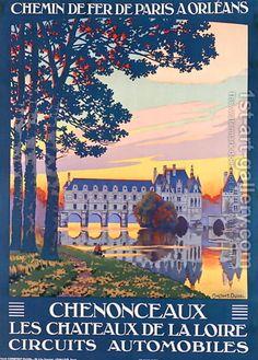 Vintage Travel Poster - Chenonceaux - Les châteaux de la Loire.