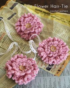 8.crochet-2 layer ruffle-flower-hair-tie free pattern