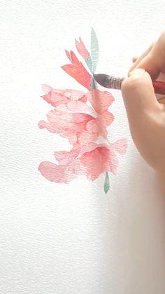 Easy Flower Painting, Flower Art, Watercolor Landscape, Floral Watercolor, Watercolor Trees, Realistic Flower Drawing, Watercolor Paintings For Beginners, Watercolor Portraits, Watercolor Flowers Tutorial