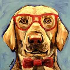 Funny Yellow lab with glasses art print from my Etsy shop https://www.etsy.com/listing/550760075/yellow-lab-art-print-yellow-labrador