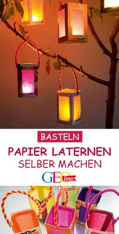 Handicraft instructions: Make colorful lanterns You can find your way through the darkness with your own paper lanterns. GEOlino shows you a handicraft instructions fo Diy Hanukkah, Hanukkah Decorations, Lantern Crafts, Chinese Crafts, Kindergarten Art Projects, Popsicle Stick Crafts, Diy Garland, Frame Crafts, Paper Lanterns