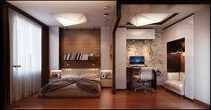 แต่งห้องนอนแบบกว้างๆ มีห้องทำงานในตัว