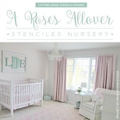 Cutting Edge Stencils shares a vintage chic nursery featuring a DIY stenciled accent wall using the Roses Allover Stencil. http://www.cuttingedgestencils.com/roses-stencil-pattern-rose-design.html