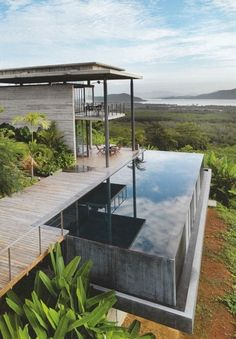 The Infinity Pool House - Would love to see and experience it, but I think I would try too often to jump drunk from the roof into the pool - surely not healthy! What a view must it be swimming there! #lifestyle, #houses, #pools
