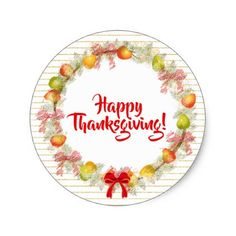 Thanksgiving Floral Pear Fruit Holiday Wreath Classic Round Sticker  sc 1 st  Pinterest & Thanksgiving Plastic Plate #thanksgiving | All About Thanksgiving ...