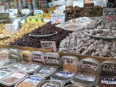 Nuts, dates, spices and more at the Atarizanas central market in Malaga, Spain.