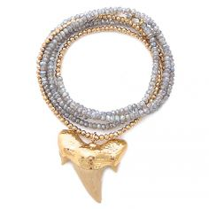 gold & gray labradorite shark tooth necklace