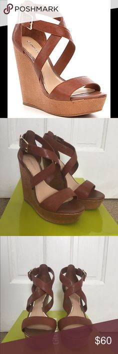 NEW✨Gianni Bini Brown Leather Wedges✨ Brand new Gianni Bini Brown Leather Wedges. Size 7. I wore them around the house and decided I don't need them. Have never been worn out. Brand new. Still have box. 📦😊💞✨😍 Shoes Wedges