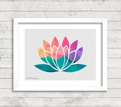Again, I love the combination of this symbol of spiritual growth, the lotus flower, simplified right down and combined with an array of complementing shades of colour.