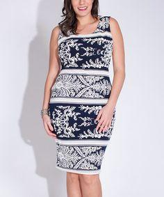 Look at this #zulilyfind! Black & White Damask Bodycon Dress - Plus #zulilyfinds