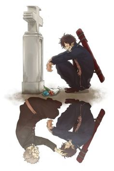Ao no Exorcist (Blue Exorcist). Rin at Fujimoto's grave. The feels I'm feeling right now!