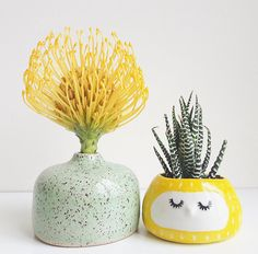 Quirky Ceramic Face Pots Are Given a Wild Hairdo When You Add a Plant - My Modern Met