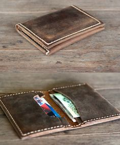 Very popular item in the JooJoobs Etsy shop. This handmade leather card wallet is slim, making it a perfect front pocket wallet.