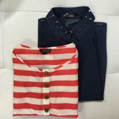 (2pc) TOPSHOP & UO Pre-Made Bundle Just an easy way for you to get more bang for your buck. ask all your questions and then let's get these perfect tops home to you. bundle includes: TOPSHOP Red & White Stripe (4 *fits like a medium), URBAN OUTFITTERS Blue Stud (M) Urban Outfitters Tops